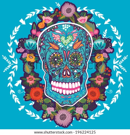 Cool illustration with Skull and floral ornament in bright colors. Fashion skull. - stock vector