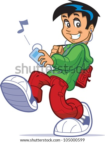 Cool kid with big sneakers and backpack walking and listening to music on digital music player and headphones or ear buds - stock vector