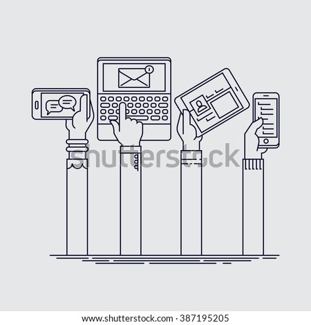 Cool linear set of people hands holding mobile devices. Flat line people hands using their phones, tablets and laptops with different applications running - stock vector
