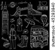 Cool London doodles - stock vector