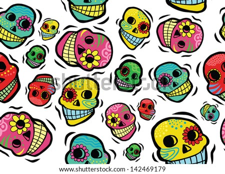 Cool Mexican Day of the Dead Skulls Seamless Pattern - stock vector