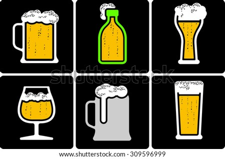 cool minimal beer pictogram with negative space