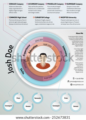 Cool modern curriculum vitae resume design with pie elements - stock vector
