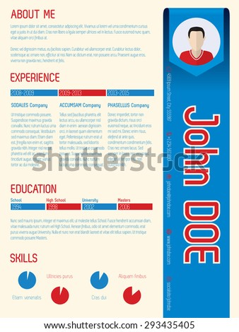 Cool modern curriculum vitae template design with arrow ribbon - stock vector