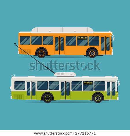 Cool modern flat design public transport vehicle city transit shorter distance bus and trolleybus, side view, isolated - stock vector