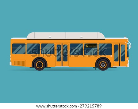 Cool modern flat design public transport vehicle city transit shorter distance bus, side view, isolated - stock vector