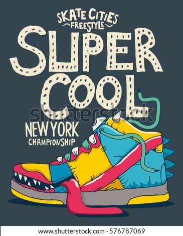 cool monster sneaker vector design for tee