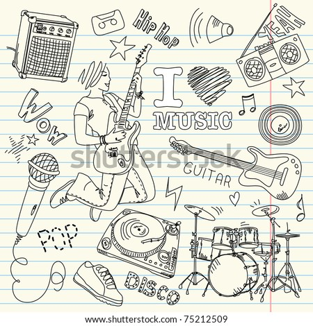 Cool Music Doodles - stock vector