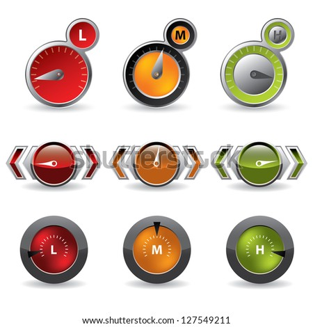 Cool new download speedometers showing speed on white background - stock vector