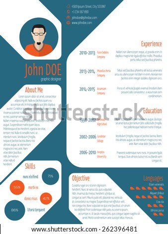 Cool new modern cv resume curriculum vitae template with photo and details - stock vector