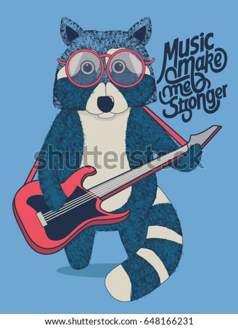 Cool raccoon guitarist is playing guitar.