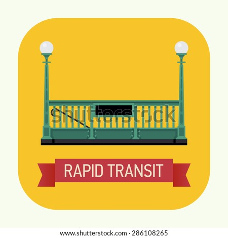 Cool rapid transit vector web or application icon with subway underground railway tube entrance and ribbon with sample text - stock vector