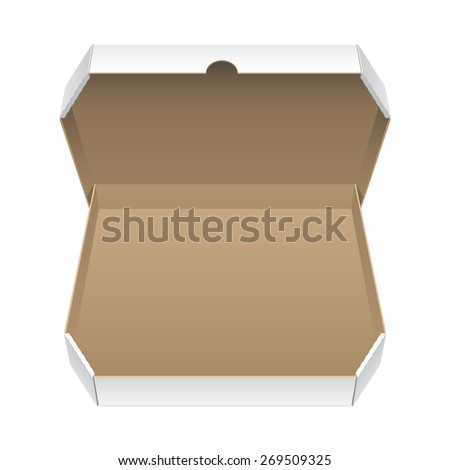 Cool Realistic Big White Opened Package. Cardboard Box for pizza. isolated on white background. Vector illustration - stock vector