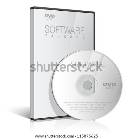 Cool Realistic Case for DVD Or CD Disk with DVD Or CD Disk. Text, reflection and background on separate layers. Vector Illustration