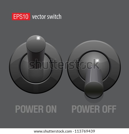 Cool Realistic Toggle Switch black color. Vector illustration. - stock vector