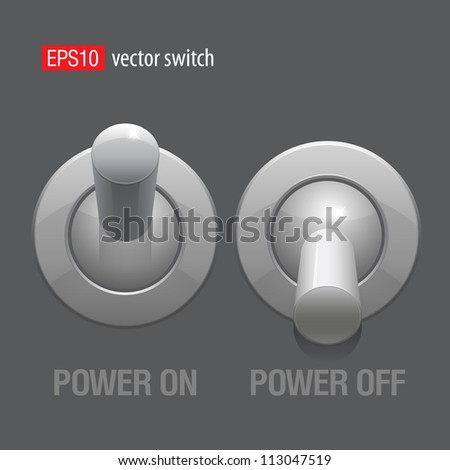 Cool Realistic Toggle Switch grey color. Vector illustration. - stock vector