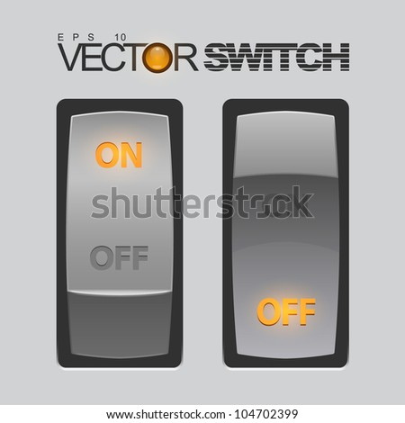 Cool Realistic Toggle Switch. Vector illustration. - stock vector