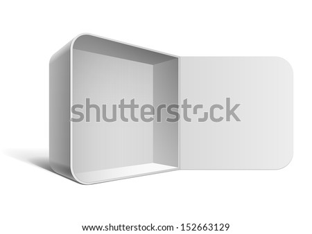Cool Realistic White Package Box Opened. Square shape. For Software, electronic device and other products. Vector illustration