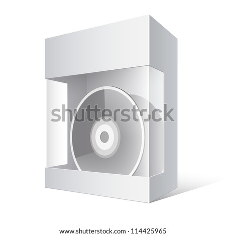 Cool Realistic White Package Cardboard Box with a transparent plastic window. DVD Or CD Disk inside. Vector illustration - stock vector
