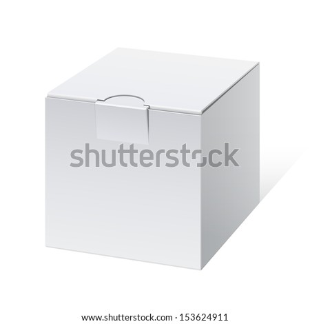 Cool Realistic White Package cube Box. For Software, electronic device and other products. Vector illustration - stock vector