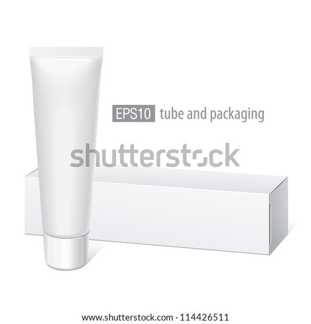 Cool Realistic white tube and packaging. For cosmetics, ointments, cream, tooth paste, glue Vector. Separate elements - stock vector