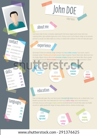 Cool resume cv curriculum vitae template design with post its and color tapes - stock vector