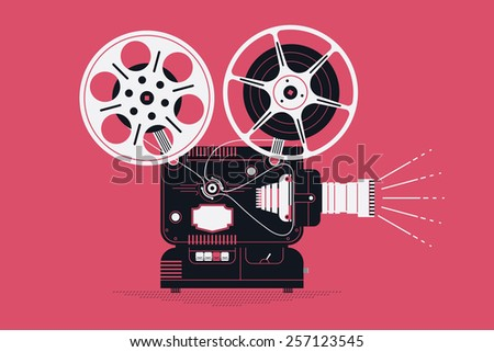 Cool retro movie projector with abstract light rays vector detailed illustration | Analog device: cinema motion picture film projector with different film reels - stock vector