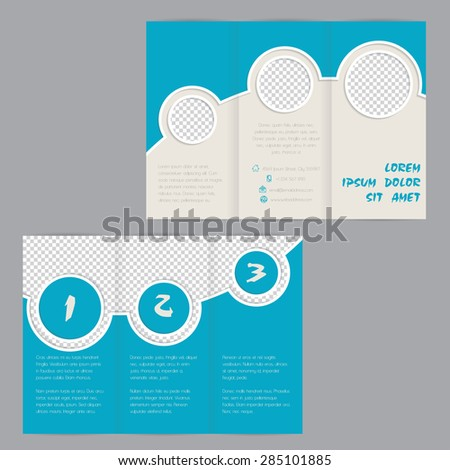 Cool ring design tri-fold brochure template design with image containers - stock vector