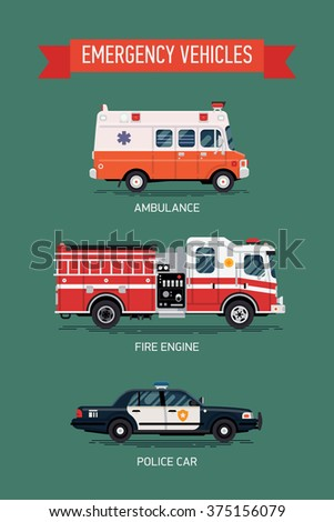 Cool set of city emergency and public safety vehicles with names. Ambulance emergency paramedic car, police department vehicle and fire engine truck in flat design icons, isolated - stock vector