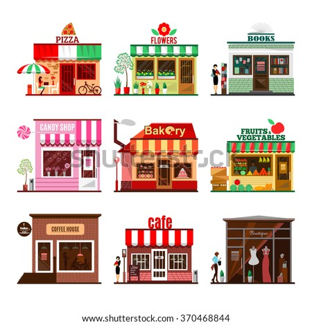 Cool Set Of Detailed Flat Design City Public Buildings Restaurants And Shops Facade Icons