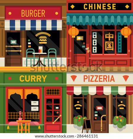 Cool set of vector detailed flat design restaurants facade icons. Burger, Chinese food, Indian curry and Italian pizzeria fronts. Ideal for restaurant business web publications and graphic design  - stock vector