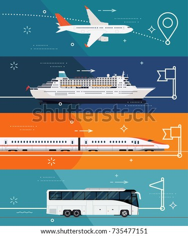 Cool set of vector flat design banner templates on travel by plane, by train, ocean liner or bus. Illustrations on different types of transport. Travel destinations and touristic routes