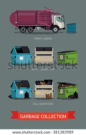 Cool set of vector icons on city waste collection service with names. Garbage truck with dumpster containers filled and empty, isolated. Urban sanitary vehicle garbage front loader truck - stock vector
