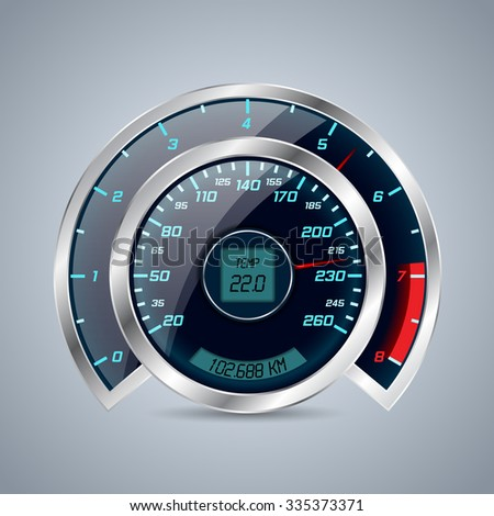 Cool shiny speedometer with big rev counter - stock vector