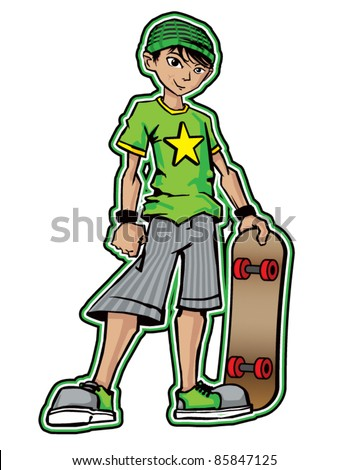 Cool Skater Boy - stock vector