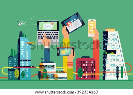 Cool Smart City flat illustration. Urban development vision to integrate communication and information technology. Modern urban information and data system. City efficiency concept layout - stock vector
