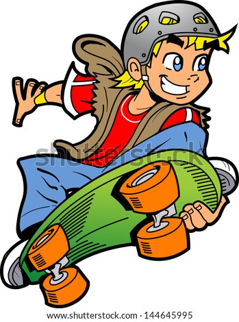 Cool Smiling Young Man or Boy Doing an Extreme Skateboard Jump - stock vector
