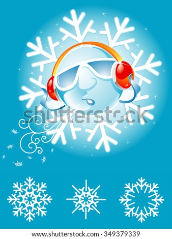 Cool Snowflake-Abstract concept winter man blowing snowflakes - stock vector