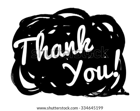 "Cool speech bubbles. Cute vector hand drawn icon ""Thank You!"". - stock vector"