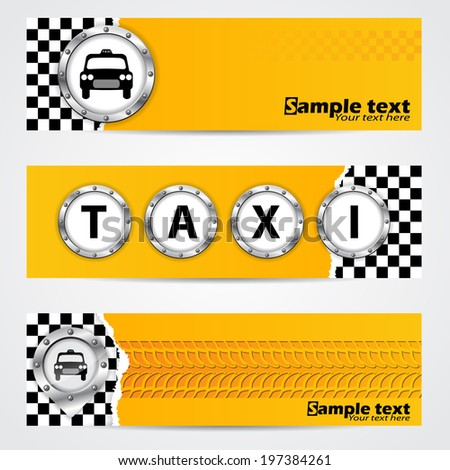 Cool taxi company banner set of 3 with metallic elements - stock vector