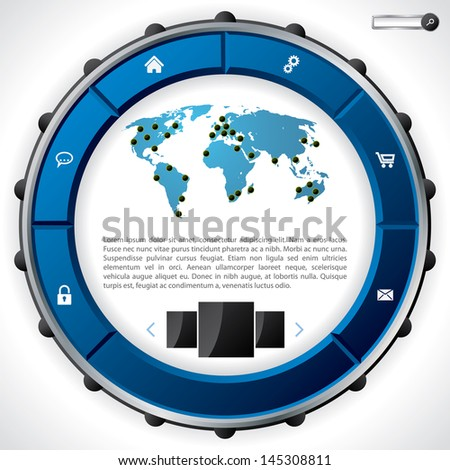 Cool technology website template design with blue ring like button set - stock vector