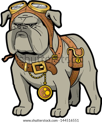 Cool Tough Steampunk Bulldog with Goggles and Pocket Watch - stock vector