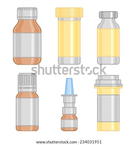 Cool Various Cartooned Medication ang Drugs Bottles for Medical Background Graphic Design. - stock vector
