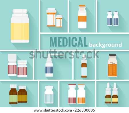 Cool Various Cartooned Medication Bottles for Medical Background Graphic Design. - stock vector