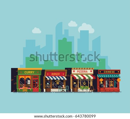 Cool vector background on city restaurants. Pizzeria, curry, Chinese and burger restaurants line-up with city skyline on background. Diverse traditional food establishments. Food court