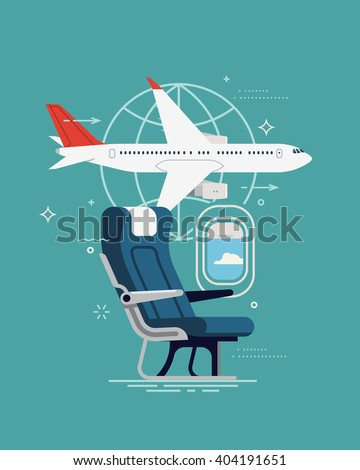 Cool vector background on travel. Airline travel, business trip, vacation journey concept illustration with cabin seat and window, airliner jet plane and world globe linear icon - stock vector