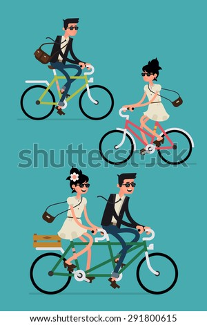 Cool vector character design on adult young man and woman riding bicycles and couple riding tandem bike. Stylish male and female hipsters on bicycle, side view, isolated  - stock vector