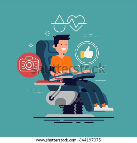Cool vector character design on blood donor sitting in medical chair while giving blood. Blood donation concept design