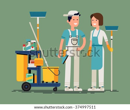 Cool vector cleaning staff characters with cleaning equipment in trendy flat design. Friendly smiling adult janitor workers standing - stock vector