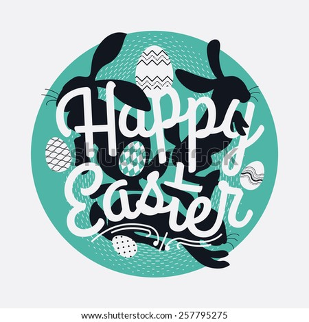 Cool vector concept circle design on Happy Easter | Round web icon design on Easter with creative lettering, bunny rabbit silhouettes and decorative ornamental eggs  - stock vector